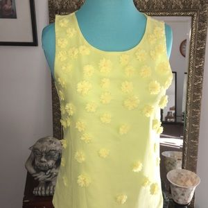 vibrant yellow flower tank XS